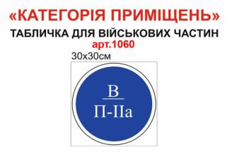 Категорії приміщень для військової частини табличка 30х30 см