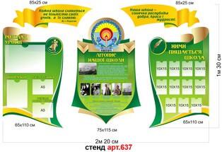 стенд визитка школы фигурный, стенд для оформления школы зеленый, стенд візитка школи фігурний, стенд для оформлення школи зелений