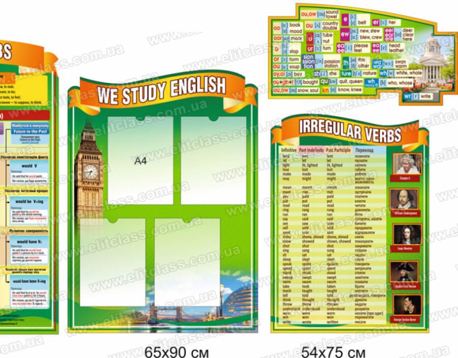 стенд по глаголам в кабинет английского языка