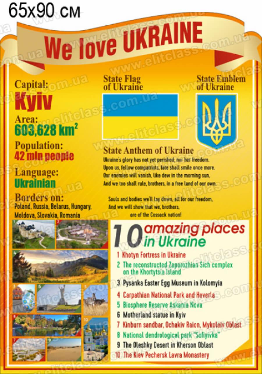 символика украины на английском, символика украины в кабинет английского, мы любим украину стенд, we love ukraine, символіка україни англійською, державна символіка англійською, державна символіка в кабінет англійської,