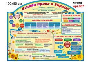 Стенд з правознавства основи права в Україні, ознаки держави, форми держави, ознаки права, система державних органів україни, твої права стенд,