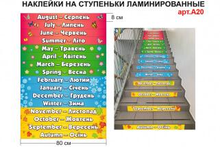 наклейки на лестницу на английском языке времена года, месяцы на английском