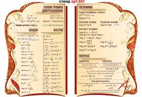стенди в кабіне математики формули скороченого множення, тригонометрія, корені, степені, квадратний тричлен