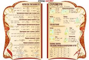 стенди в кабінет математики правила дифференціювання, логарифми, прогресії, похідна, інтеграл