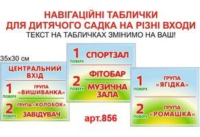 Навігаційні таблички для входу у дитячий садок №856