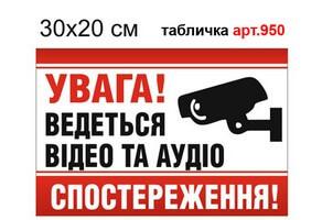 """""""Ведется видео и аудионаблюдение"""" табличка №950"""