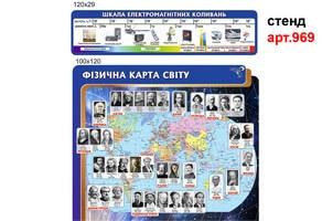 стенд шкала електромагнітних коливань, стенд фізична карта світу з портретами фізиків