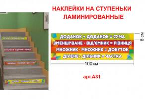 """Наклейки на сходи """"Доданки"""" №А31"""