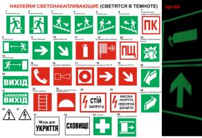 Знаки пожарной безопасности наклейки светонакапливающие №А8