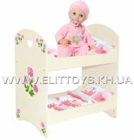 """Ліжко для ляльки двох'ярусне """"Аліса"""""""
